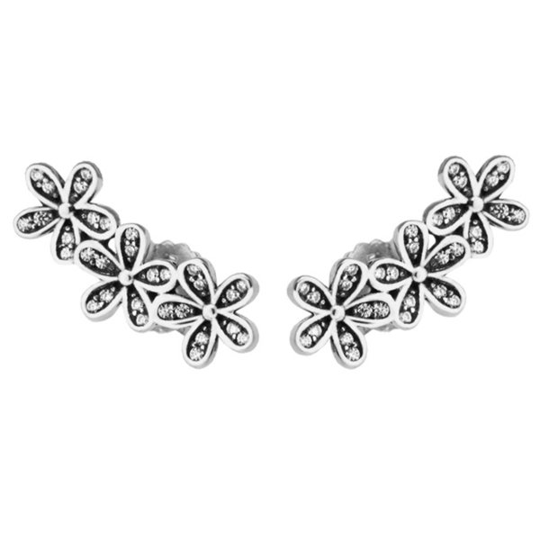 Dazzling Daisies Stud Earrings Clear CZ 2017 Spring 100% 925 Sterling Silver Earrings Authentic Fashion Jewelry DIY Charm Brand