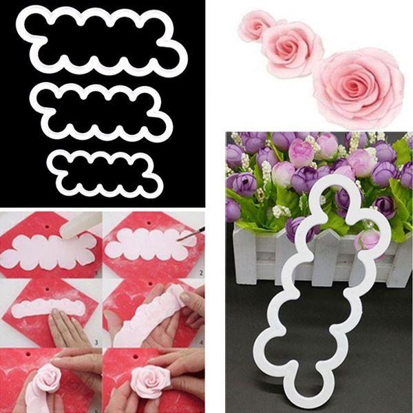3 piece/Set Silicone 3D Rose Flower Fondant Cake Chocolate Sugarcraft Mould Mold Decor Tool