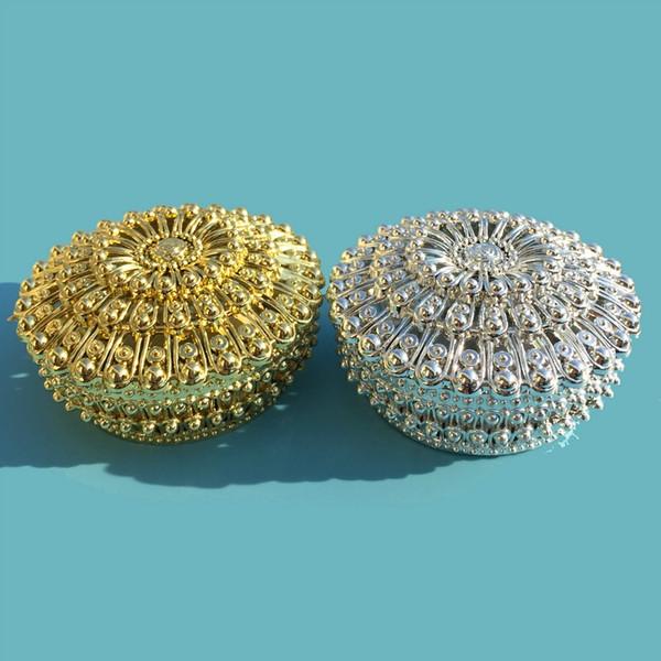 Luxury Golden Silver Peacock Round Candy Box Treasure Chest Wedding Favor Box Creative Party Supplies wen5949