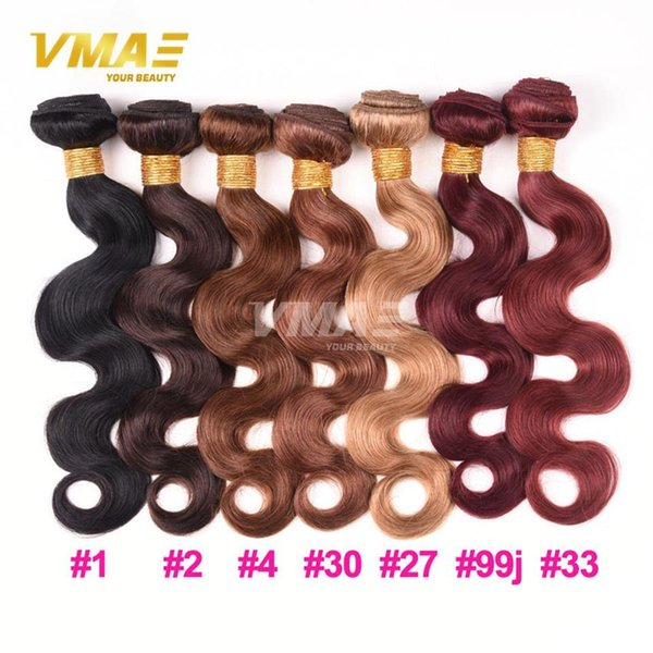 VMAE remy Body Wave 3 double drawn Bundles Malaysian 99j Burgundy Red Hair Weaves Bundles virgin Human Hair Extensions #4 #27 #30 #33