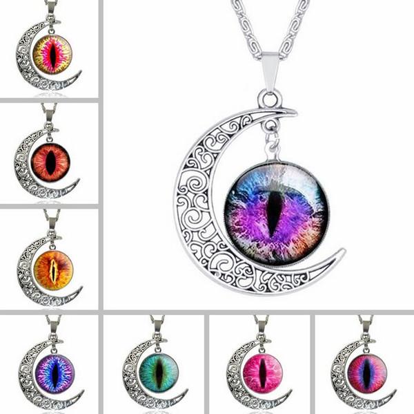 Vente chaude lune collier de pierres précieuses rétro yeux ornements chaîne de chandail chaud populaire WFN183 (avec chaîne) mélanger ordre 20 pièces beaucoup