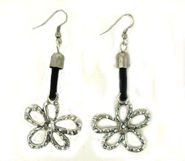 Antique Silver Plated Flower Pendant Drop Earrings Special 5-Petals' Metal Flower Drop Earrings Unique Jewelry
