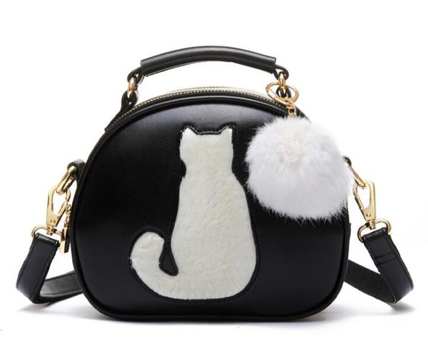 10pcs 2017 Women Makeup Bags Crossbody Bag For Women PU Leather Cosmetic Bags Full Moon Candy Color Cute Cat With Fur Ball