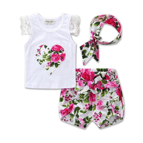 Baby Girls Sets 2017 Kids Girls Lace T-shirt + Bow Short Pants + Headband 3pcs Suits Newborn Infant Floral Print Outfits Children Clothing