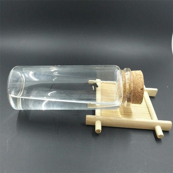 47x90x33mm 100ml Glass Jars With Cork Clear Transparent Empty Wishing Bottles Wood Stopper 6pcs/lot Free Shipping
