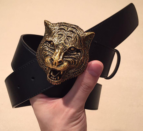 96170b99d Mens Designer de Jeans Cintos De Couro Genuíno com Bronze tigre Fivelas de  Cinto de Metal