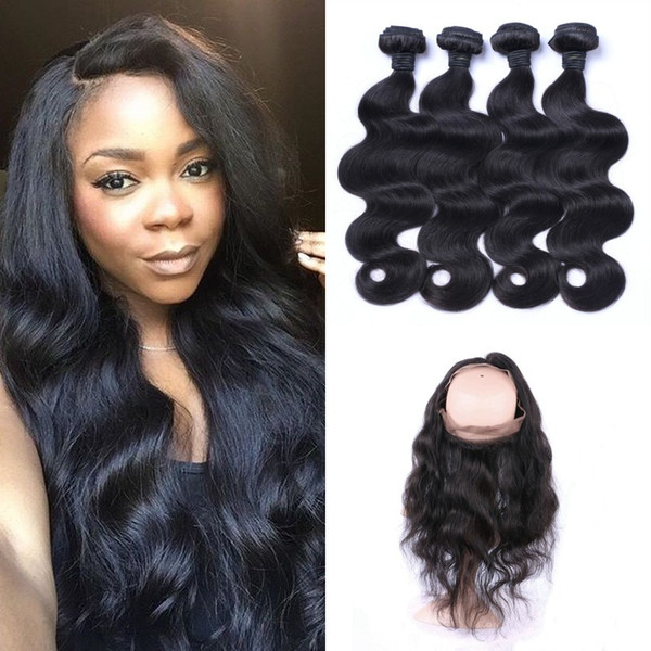 360 frontal with 4bundles virgin peruvian human hair body wave 360 lace frontal with hair weaves LaurieJ Hair