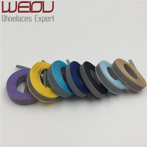 Weiou (30 pares / lote) 4 M Cordones de cordones reflectantes Visibilidad Zapatillas de deporte planas para correr Zapatillas para correr Ciclismo Safty Cordones de los zapatos 90 cm