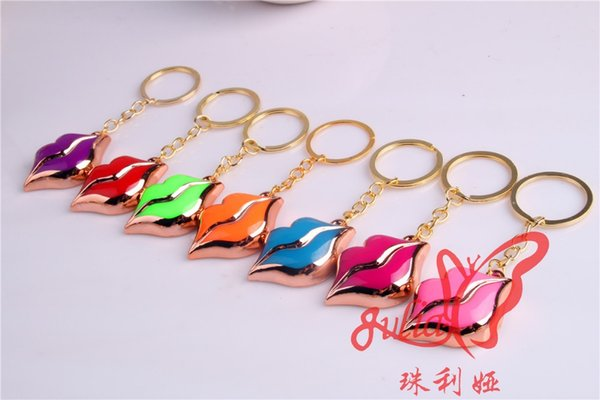 FREE shipping 100pcs/lot 2016 New Lips Shaped Keychains Lovely Keyrings for Girls Gifts