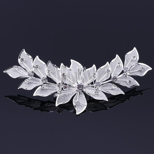 1 Pcs leaf shape Silver Plated Crystal Flower Bridal Tiara Mini Hair Comb Pin