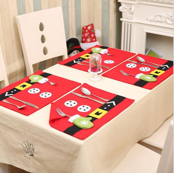 """Christmas Table Mat with Flatware Holder Bag,Placemats Napkins Decor Cover for Kitchen Table Christmas Decorations(17.7""""x13"""")"""