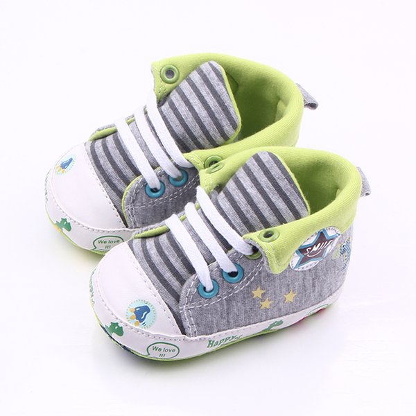Wholesale- New Arrival Cute Canvas Sports Elastic Band Animal Prints Baby Boy Girl Shoes 0-15 Months