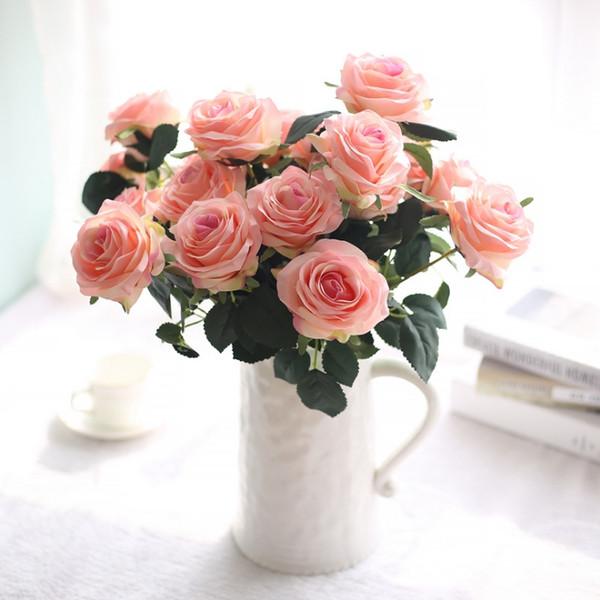 2019 Roses 10 Heads 1 Bounch Artificial Hawaiian Flowers Organza