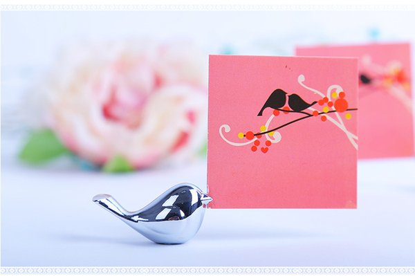 Metal Love Bird Place Card Holder Wedding Party Table Decor Bridal Baby Shower Baptism Favor Gift Party Souvenirs