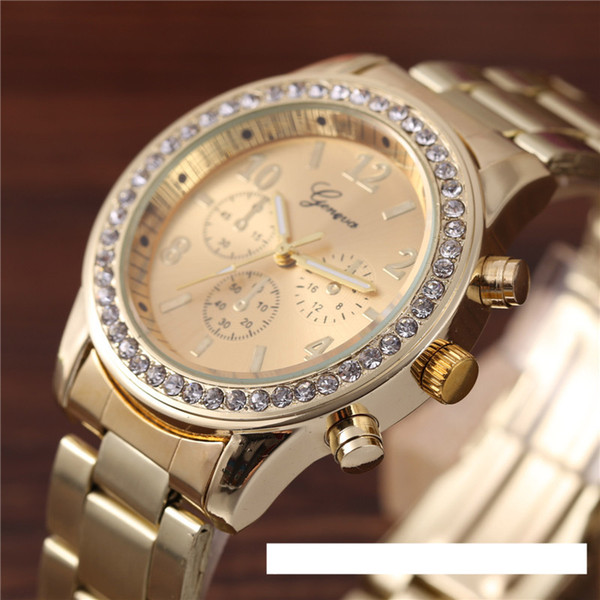 Luxury Alloy Diamond Geneva watch Men Women Three Eyes Decration Alloy Metal Band Stainless Steel Quartz Geneva Watches