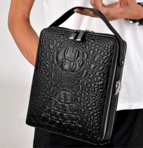 sales business crocodile leather brand notebook bag leisure fashion handbags leather crocodile embossed leather shoulder bag man trend