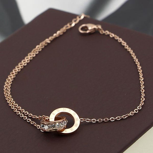 New arrival stainless steel rose gold double ring connect with diamond chain bracelet for women and mother gifts friend lovers wedding charm