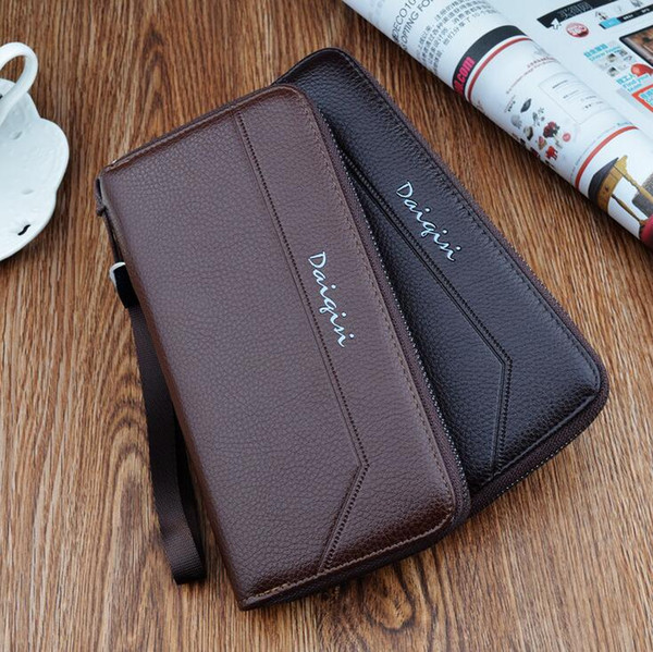wholesale brand male bag business leisure leather man purse simple large capacity Man Long Wallet multi-functional business man hand Purse