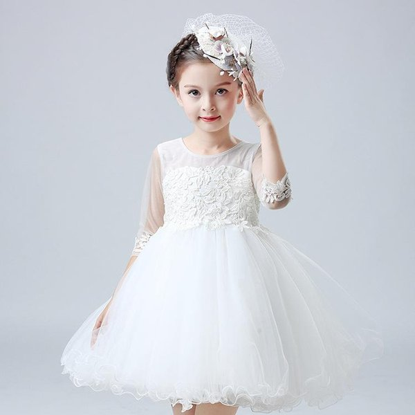 Free Shipping A-line Short / Mini Half Sleeves Boat Neck White Flower Girl Dresses for Wedding Brithday Dresses with Appliques