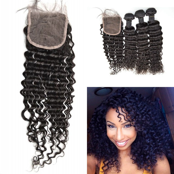 3 bundles with closure natural black peruvian deep wave human hair bundle lace closure 4pcs lot G-EASY
