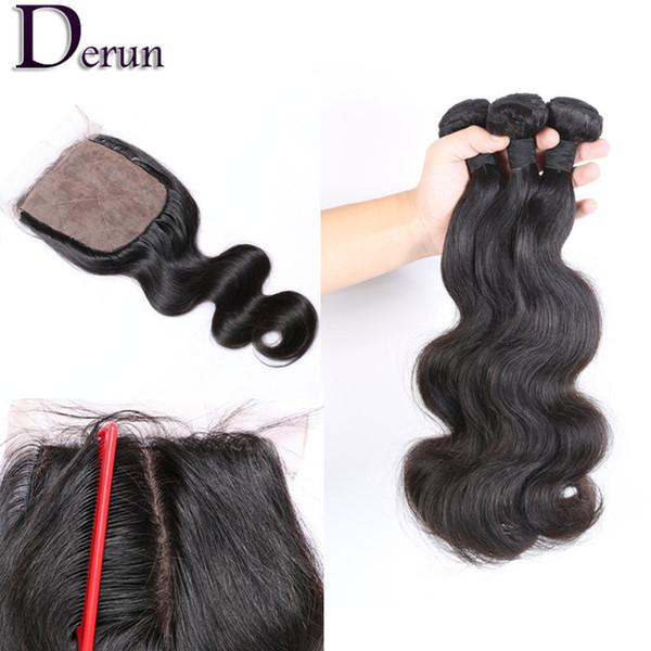 Chiusura con base di seta con 3 pacchi peruviani indiani malesi brasiliani fasci di capelli non trattati di remy dell'onda del corpo estensioni dei capelli vergini