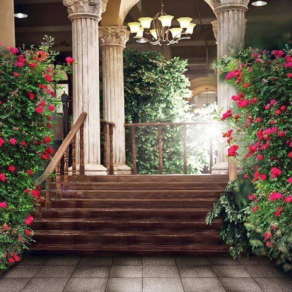 Vintage Castle Stone Pillars Pink Flower Garden Backgrounds Wooden Stairway Photo Shoot Backdrops Wedding Portrait Photography Backdrop