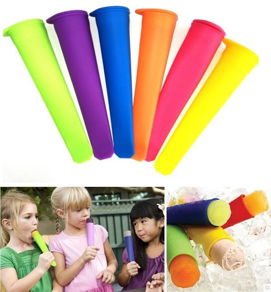 Wholesale 100pcs Silicone Ice Pop Mold Popsicles Mould with Lid Ice Cream Makers Push Up Ice Cream Jelly Lolly Pop For Popsicle 15*3.5cm