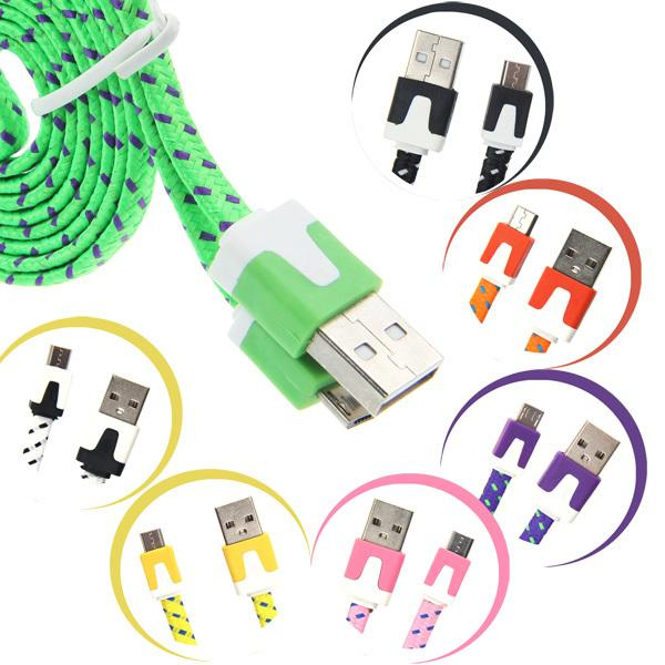 Micro USB Braided Fabric V8 Charger Data Sync Nylon Flat Cable Cord Adapter 1M 3FT for Samsung Galaxy S6 S4 Note 4 htc