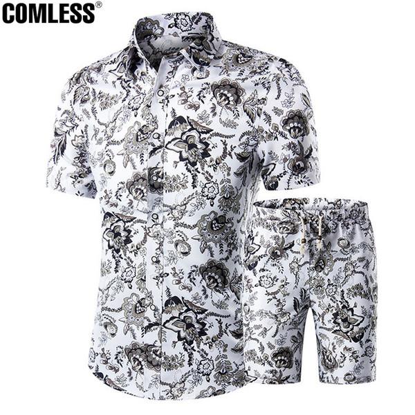 Wholesale- Two Piece Shorts Men Sets Shirts+Shorts Summer 2016 New Fashion Short Sleeve Slim Shirt Ten Printing Designs Mens Clothing M-5XL