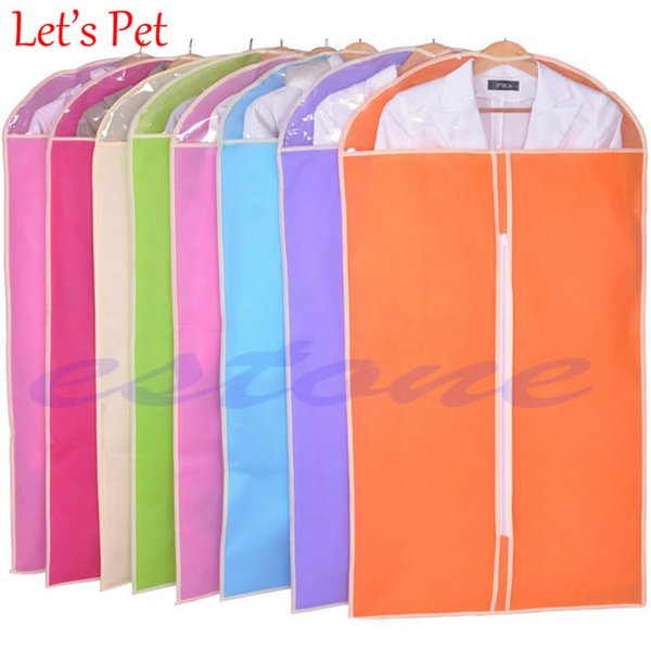 Wholesale- New Home Dress Clothes Garment Suit Cover Bag Dustproof Storage Protector Foldable Wardrobe Hanging Bags color random 3 Size