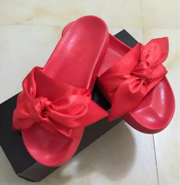 2017 HOT Sale Free Shipping Send With BOX And Dust bags rihanna X Fenty Bandana Slides fur slippers Sandals size 36-41