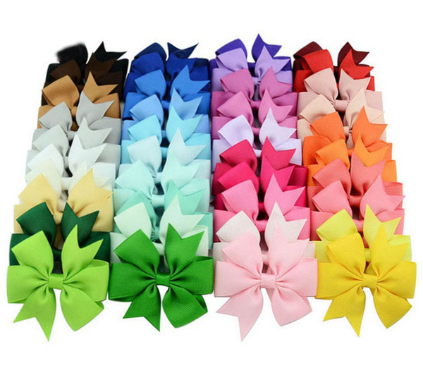 40 Colors Baby Girls Hair Clip Mermaid Bow Ribbon Hairpin Children Hair Accessories Photography props E564