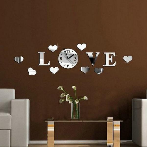 Großhandels-Spiegel Wanduhr Große 3D Acryl Spiegel Herz Muster Wanduhren Home Decor Für Wohnzimmer Moderne Brief Herzform Uhr