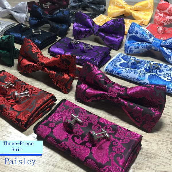 top popular New Design Self Bow Tie And Hanky & Cufflinks Set Silk Jacquard Woven Men Butterfly BowTie Pocket Square Handkerchief Suit Wedding 2020