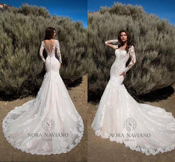 Nouvelle arrivée 2018 robes de mariée sirène Sheer manches longues illusion retour robes de mariée en dentelle pleine robes de mariée Vintage fait sur commande