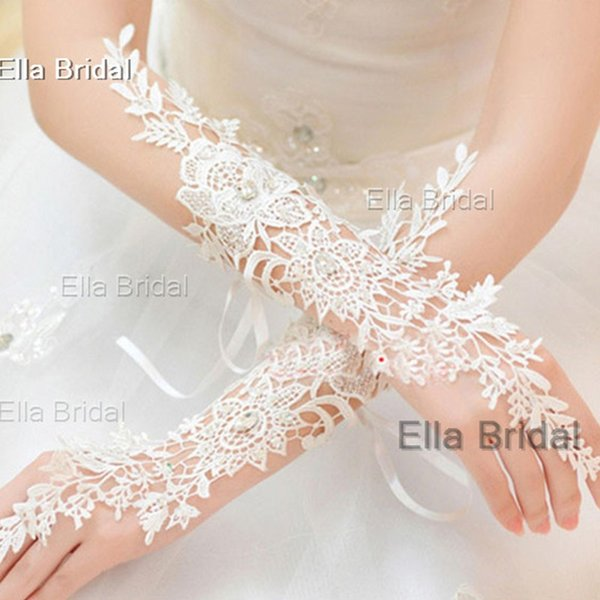 High Quality Lace Bridal Gloves Fingerless Elbow Length Crystal Beaded Sexy Wedding Prom Party Gloves Free Shipping In Stock Factory Sale