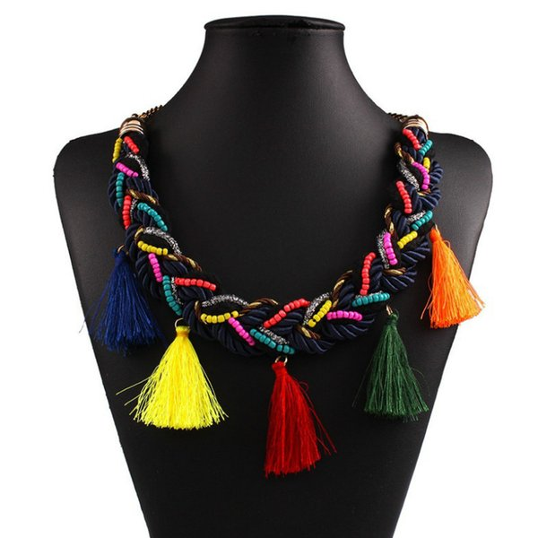 2017 Hot Sale Ethnic Bohemia Necklace Multicolor Tassel Braided Rope Gold Colorful Beads For Women Fashion Jewelry
