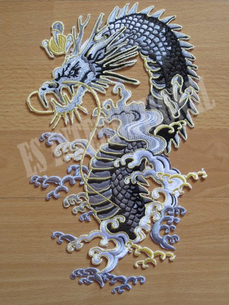 Chinese dragon ethnic style large Embroidery Patches for Jacket Back Vest Motorcycle Biker 17*28.5cm