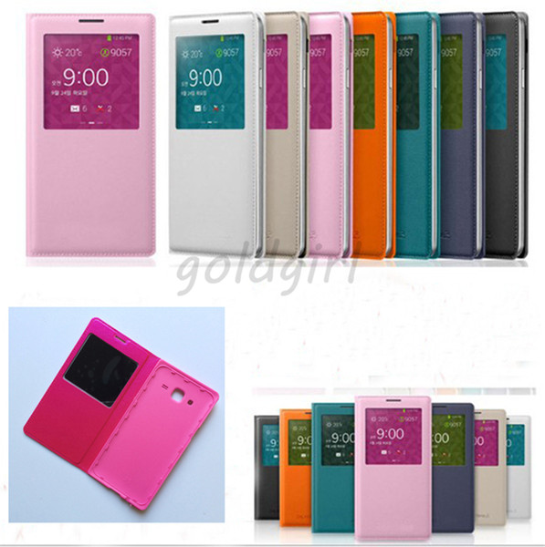 Smart Sleep Awake Wake Up Function View Open Window Leather Flip Case Cover For Samsung Galaxy S3 S4 S5 S6 edge plus s7 s7 edge Alpha G850