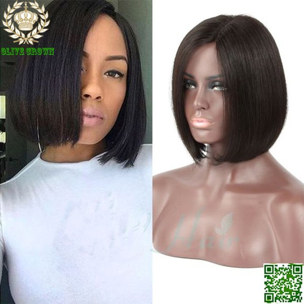 Short Bob Wigs Virgin Peruvian Silky Straight Human Hair Full Lace Wigs Front Lace Human Hair Bob Wigs With Baby Hair