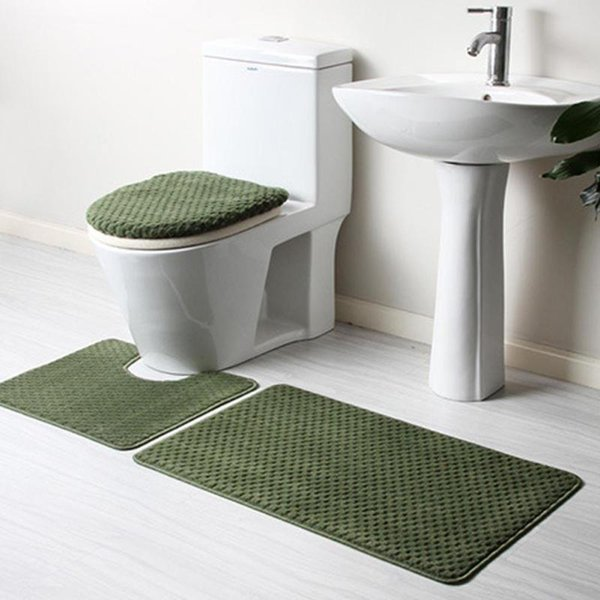 Wholesale  4PCs Bathroom Mats Set Coral Fleece Memory Foam Rug Kit Toilet  Pattern Bath Non