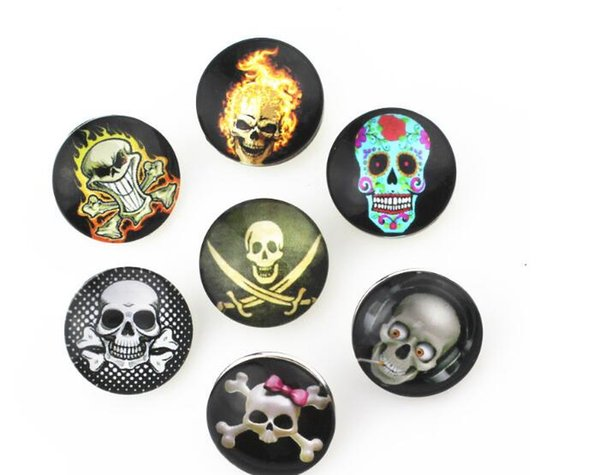 Wholesale new fation 60pcs lot Mix styles 18mm Metal Press Button Diy Skull Snap Button Silver Snap Charm Bracelet Jewelry