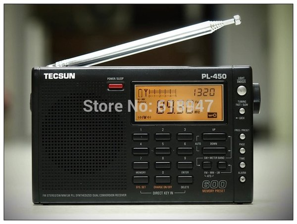 Wholesale-Free Shipping Tecsun pl-450 FM radio Stereo LW MV SW-SSB AIR PLL SYNTHESIZED PL450 secondary variable frequency radio