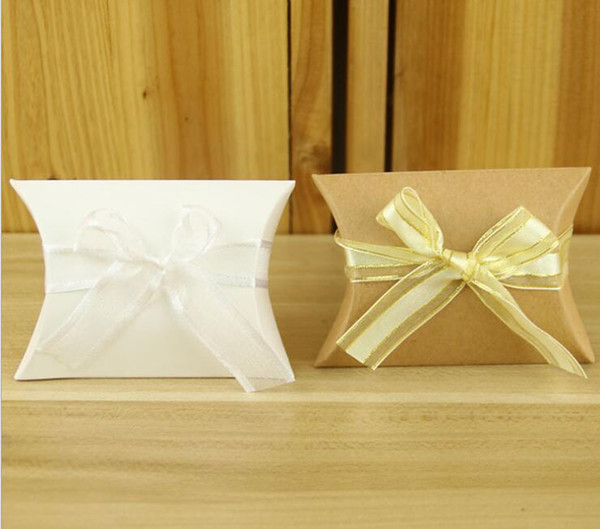 Kraft Paper Pillow Favor Gift Box Wedding Party Favour Gift Candy Boxes Paper Gift Box Bags wit Ribbon