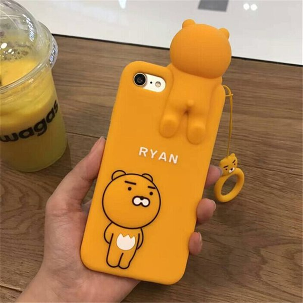 """3D Cartoon Lion Case with Strap for iPhone 7 / iPhone 7Plus 5.5"""" Screen Large Size Soft Silicone Rubberized Korean Cute Lovely Fun"""
