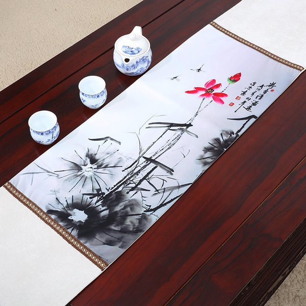 best selling Lengthen Classic Lotus Table Runner Luxury Table Mats High Quality Chinese style Silk Brocade Dining Room Table Cloth Placemat 230x33 cm