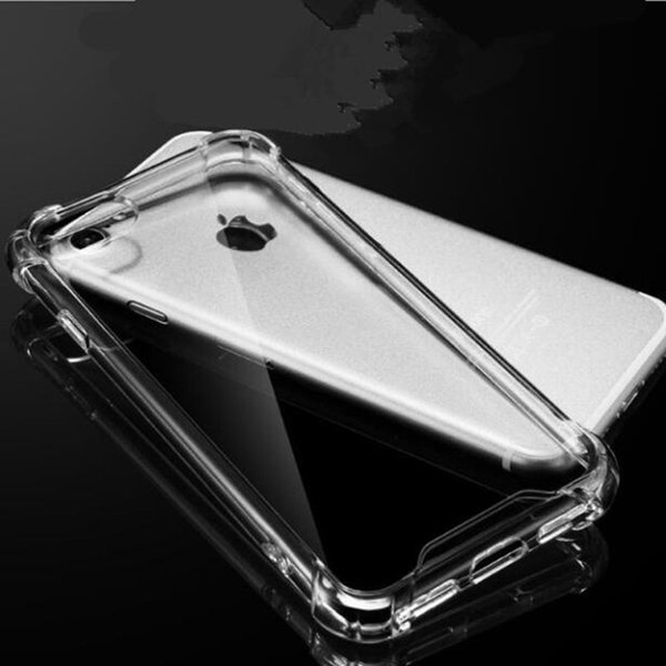 new TPU phone cases for iphone 7 5 5S 6 6s plus Transparent Clear TPU + PC hard cover case Explosion proof anti fall design case GSZ246