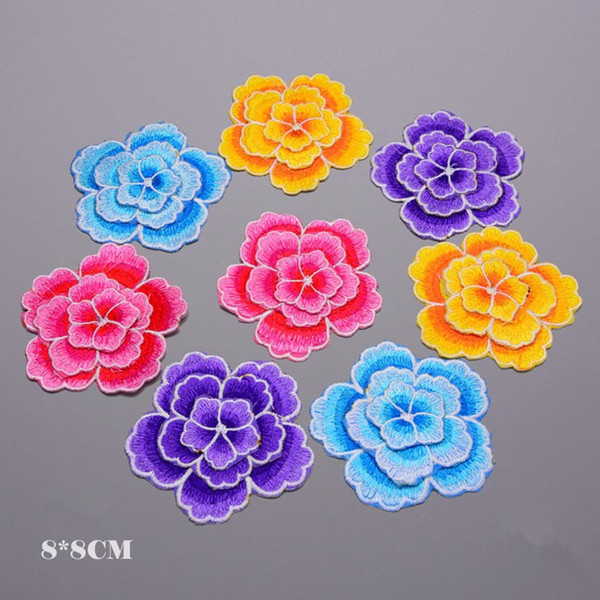 Colorful 3D Flowers Patch 8*8cm Embroidered Motif Applique Iron On Stickers Patches For Clothes Dancing Jean Jacket DIY Sewing Accessories