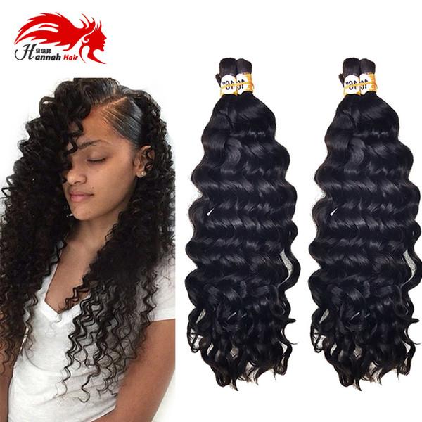 top popular Afro Deep Curly Wave Bulk Hair For Braiding 3Pcs 150gram 7A Afro Curly Virgin Human Hair For Braiding Bulk No Attachment Crochet Braids 2019