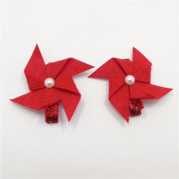 20pcs/lot Red Windmill Hair Clip Felt Flower Winnower Hairpin Glitter Hair Grip Cartoon Simulated Pearl Newborn Kid Barrettes